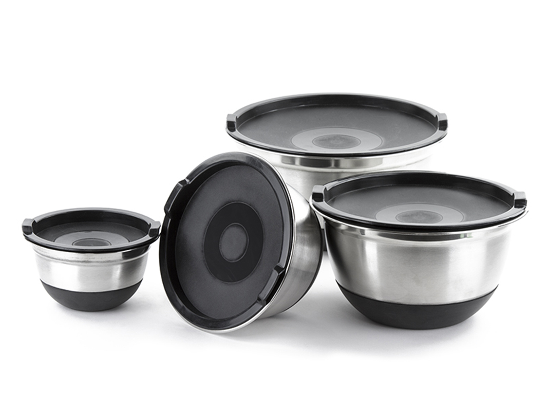 4 pcs stainless steel german mixing bowls set with lids non skid silicone base ebay. Black Bedroom Furniture Sets. Home Design Ideas