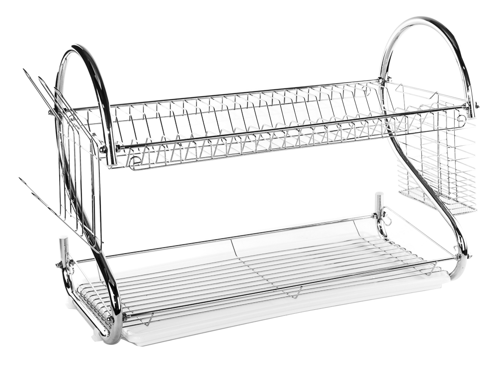 2 tier stainless steel s dish rack dish drainer rack 22 clear tray ebay. Black Bedroom Furniture Sets. Home Design Ideas
