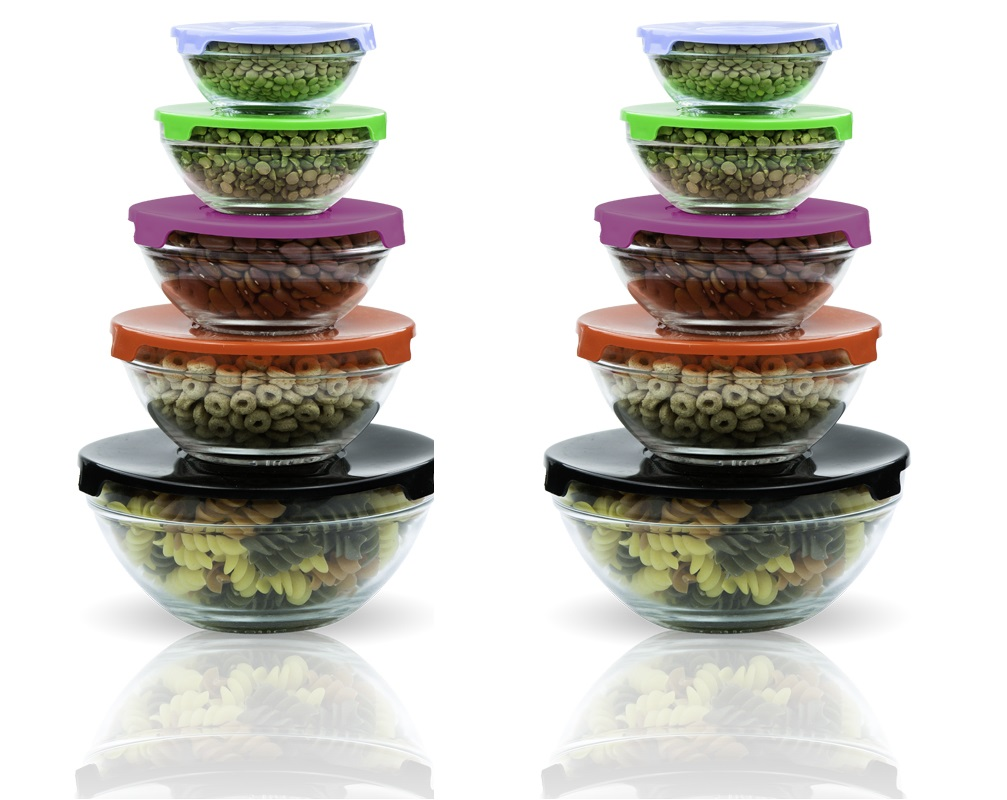 10 pcs glass lunch bowls set with multi color lids 2 pack - Glass Containers With Lids