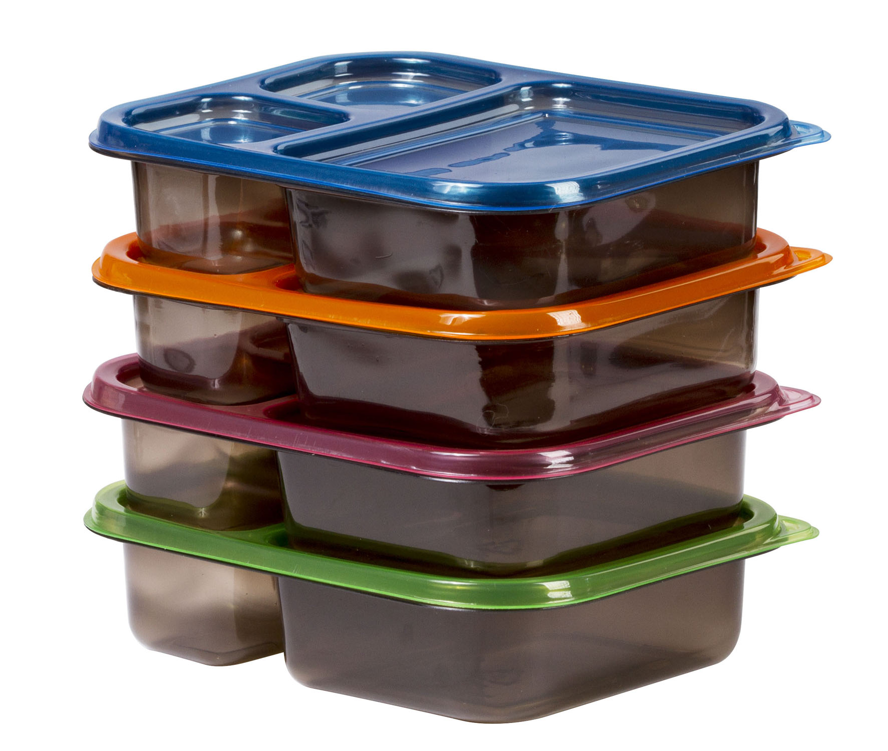 4 Meal Prep Containers 3 Compartment Plastic Bento Food Storage Set 3