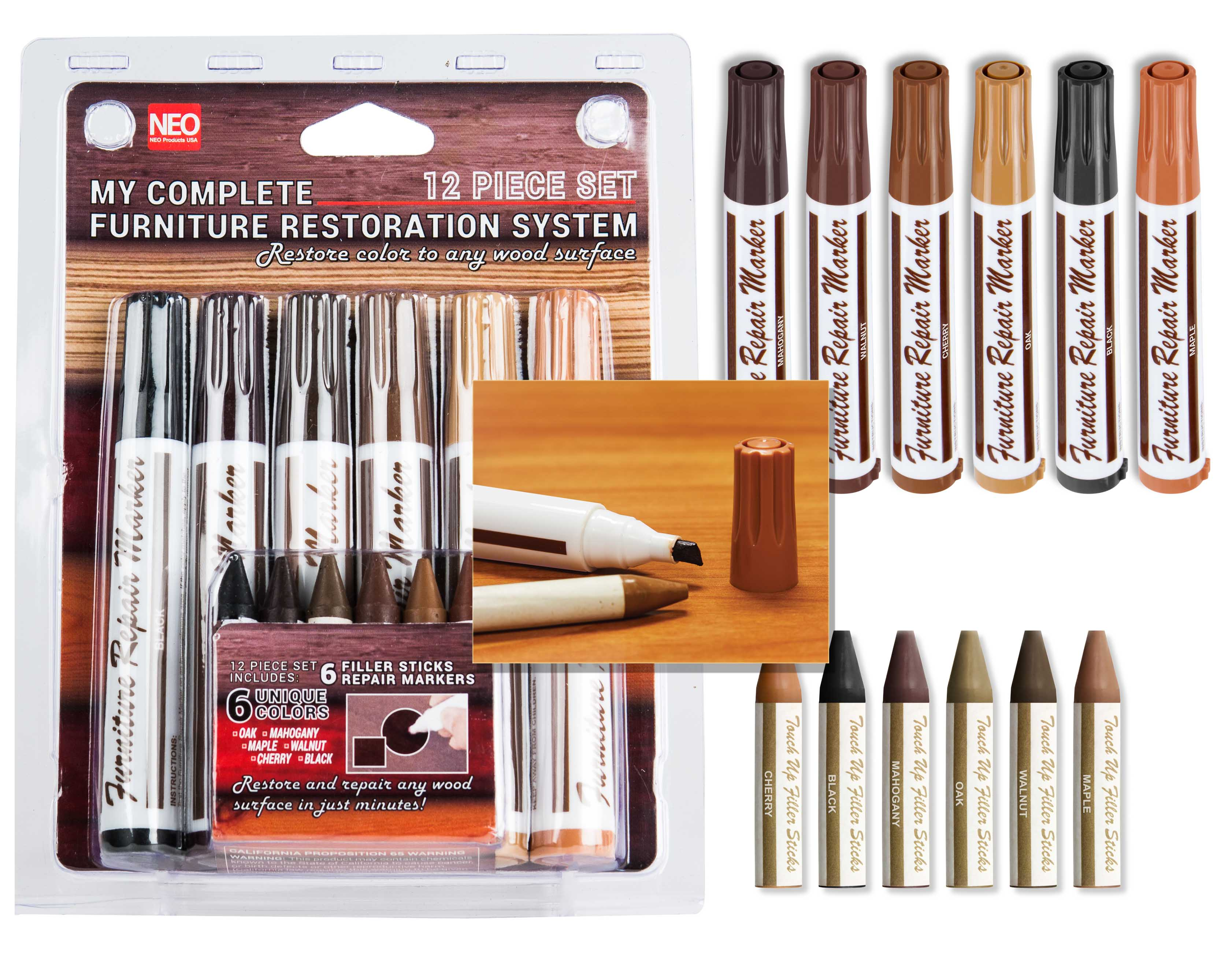 12 Pc Wood Stain Markers Set With Filler Sticks