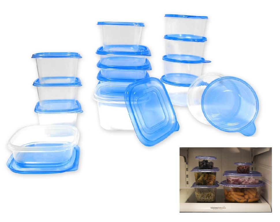 30 pcs reusable plastic food storage containers set with air tight blue lids ebay. Black Bedroom Furniture Sets. Home Design Ideas