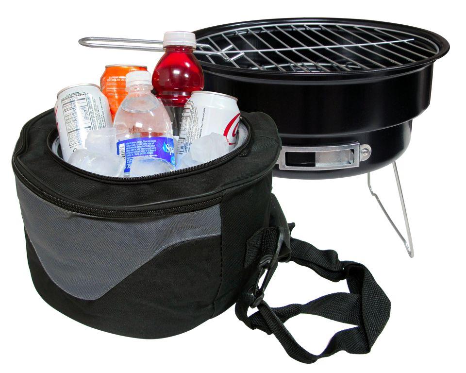 portable barbecue charcoal grill and cooler bag bbq grill cooler set ebay. Black Bedroom Furniture Sets. Home Design Ideas