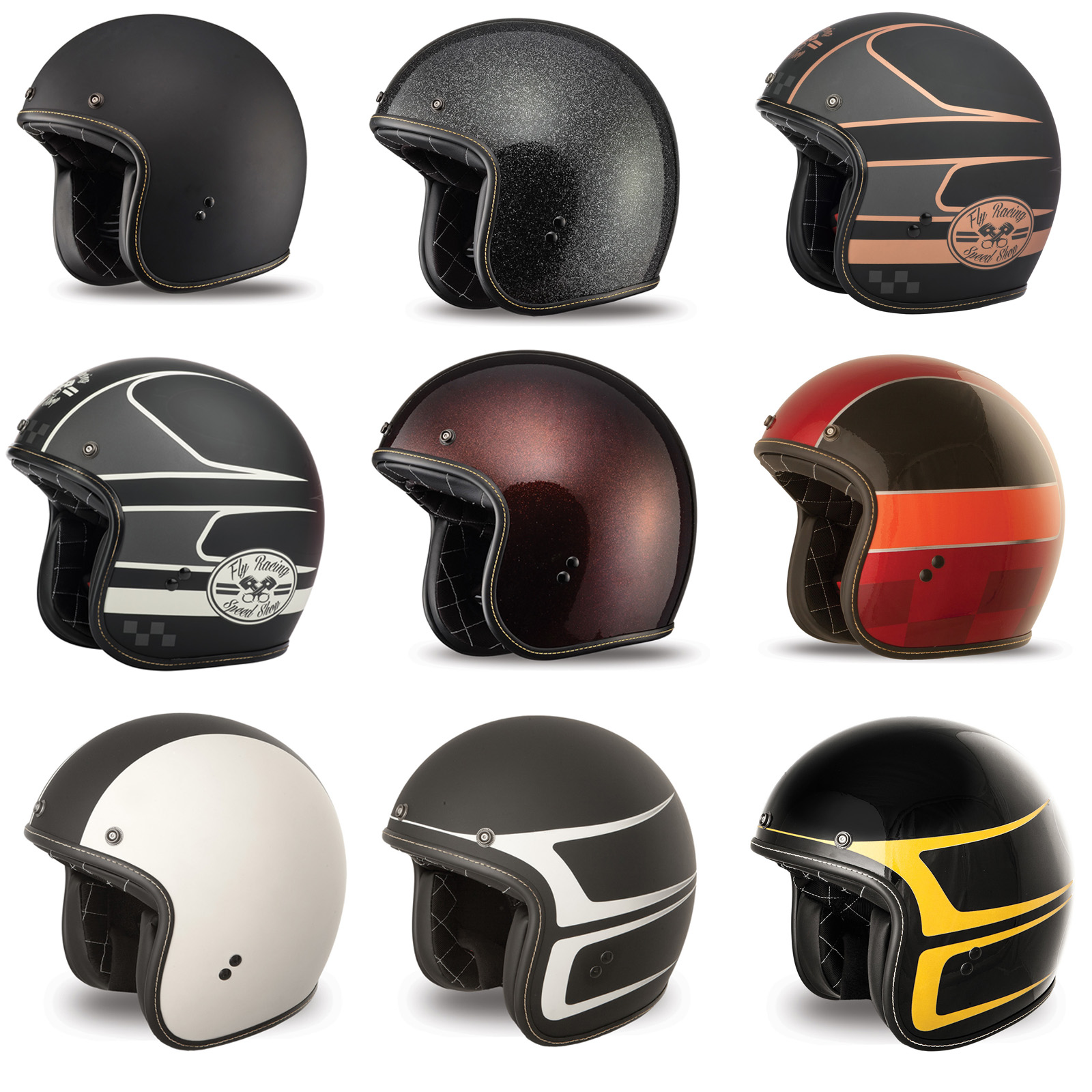 Fly Racing Tourist Solid Open Face Helmet Black F73-8100~6 2XL