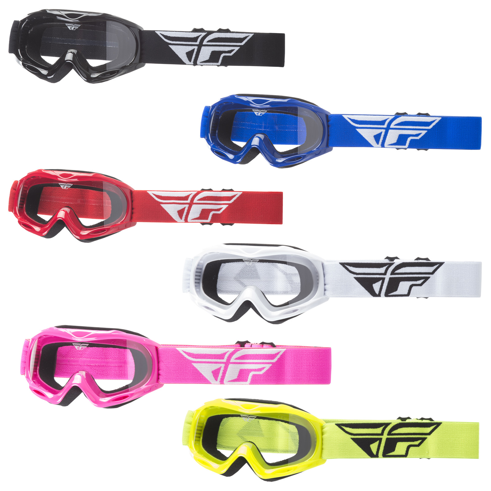 NEW Fly Racing MX Focus Black Clear Kids Motocross Dirt Bike Off Road Goggles