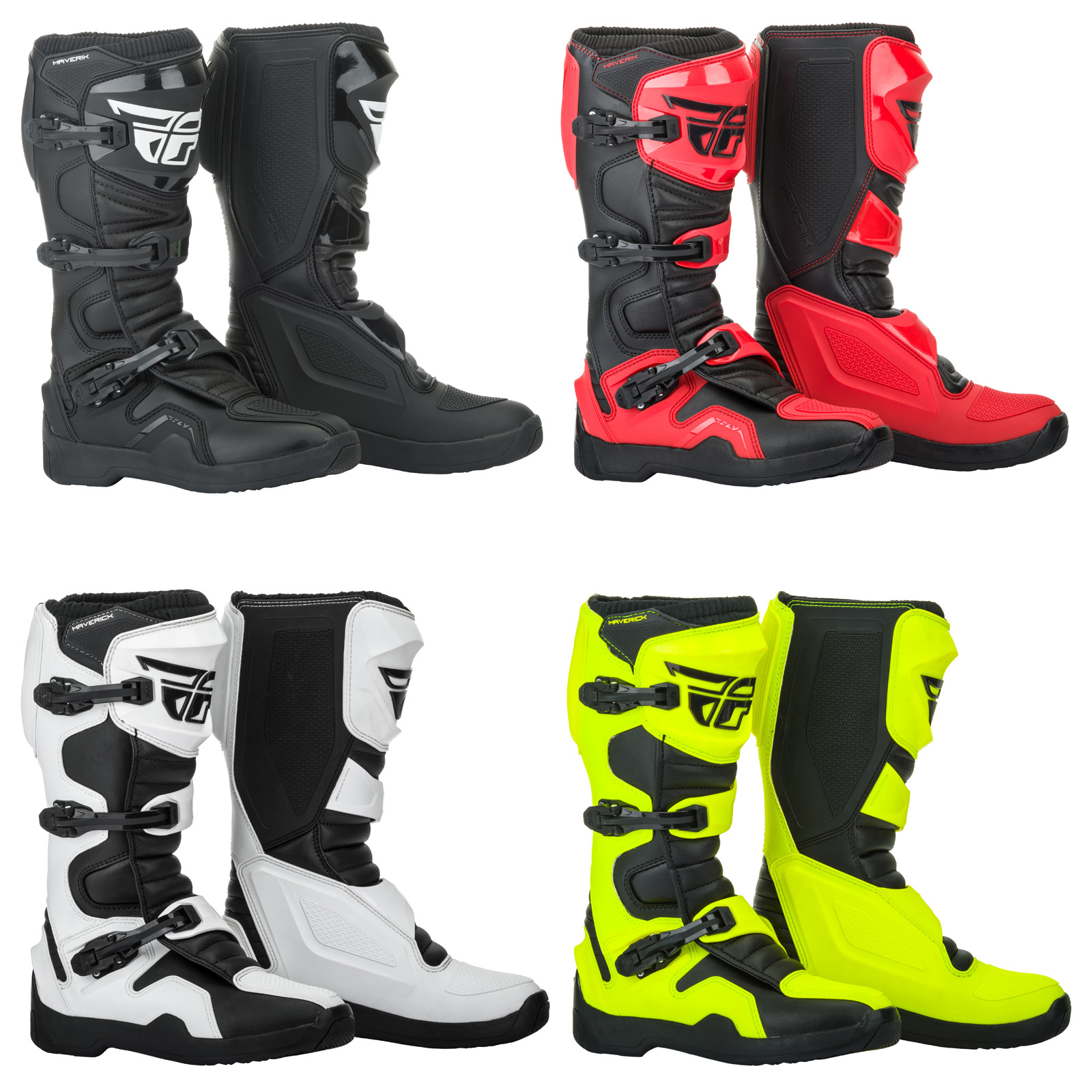 Kids Sizes Motocross Dirt Bike Youth Fly Racing Maverik MX Riding Boots Adult