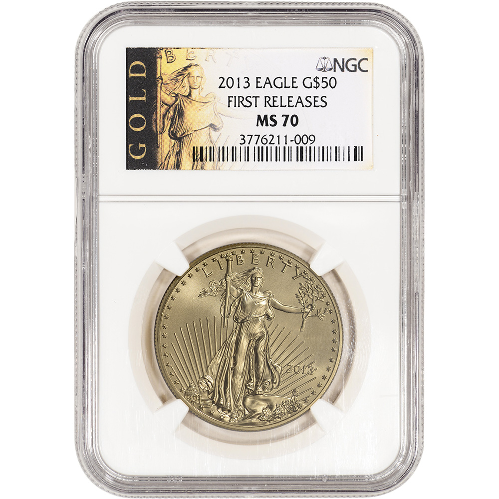 2013 American Gold Eagle (1 oz) $50 - NGC MS70 - First Releases - Gold