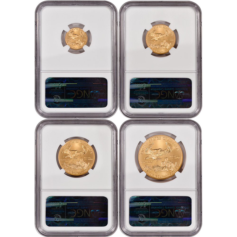 2013 American Gold Eagle 4-pc Year Set - NGC MS70 - First Releases