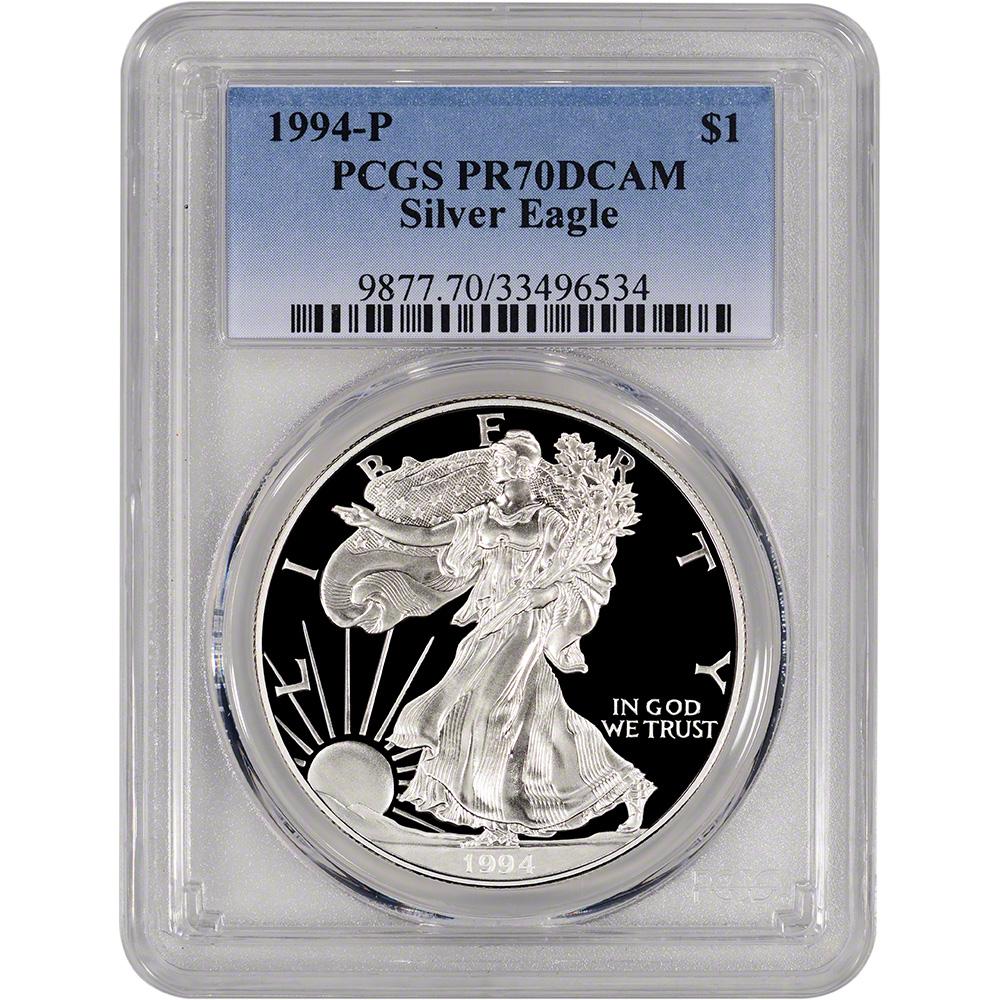 1994 P American Silver Eagle Proof Pcgs Pr70 Dcam Ebay