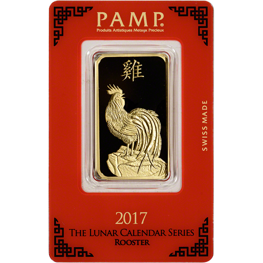 1 Oz Gold Bar Pamp Suisse Lunar Year Of The Rooster