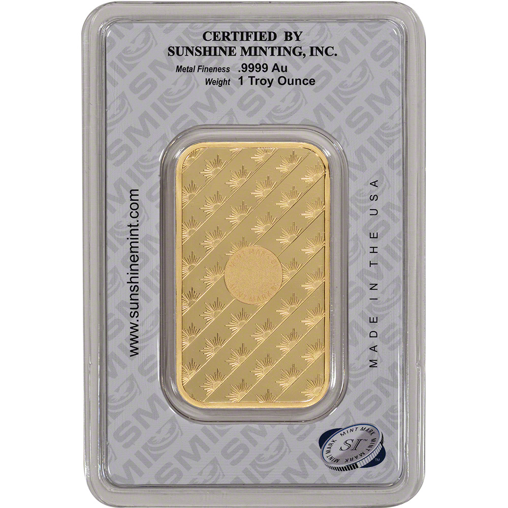 1 Oz Gold Bar Sunshine Minting 9999 Fine Ebay
