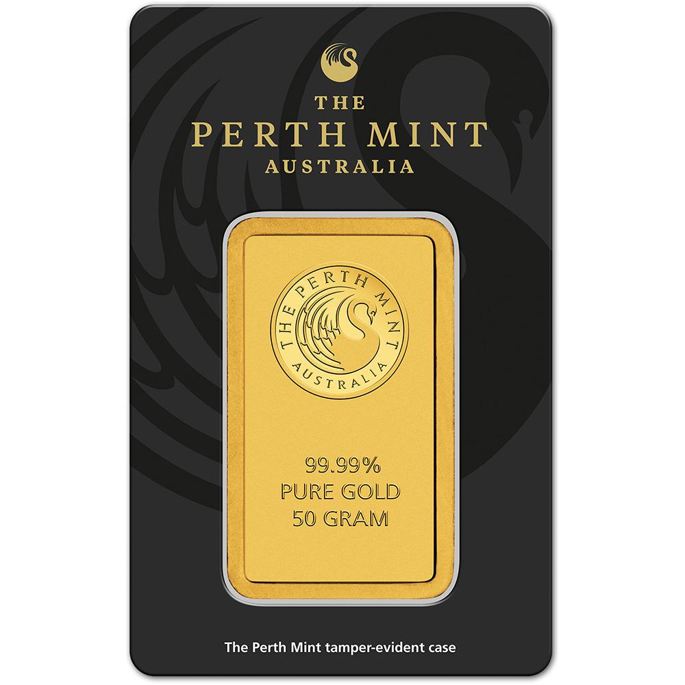 50 Gram Gold Bar Perth Mint 99 99 Fine In Assay Ebay