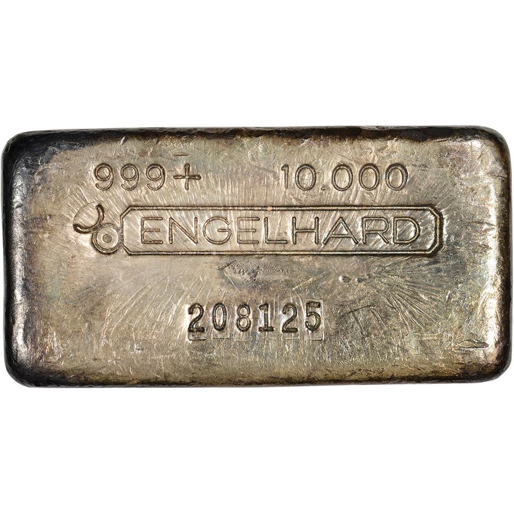10 Oz Vintage Silver Bar Engelhard 999 Fine Bull