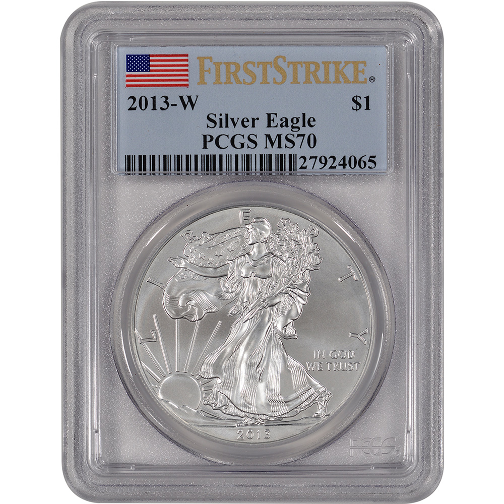 2013 w american silver eagle uncirculated burnished pcgs ms70 2013 w
