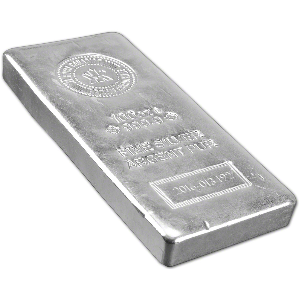 100 Oz Rcm Silver Bar Royal Canadian Mint 9999 Fine Ebay