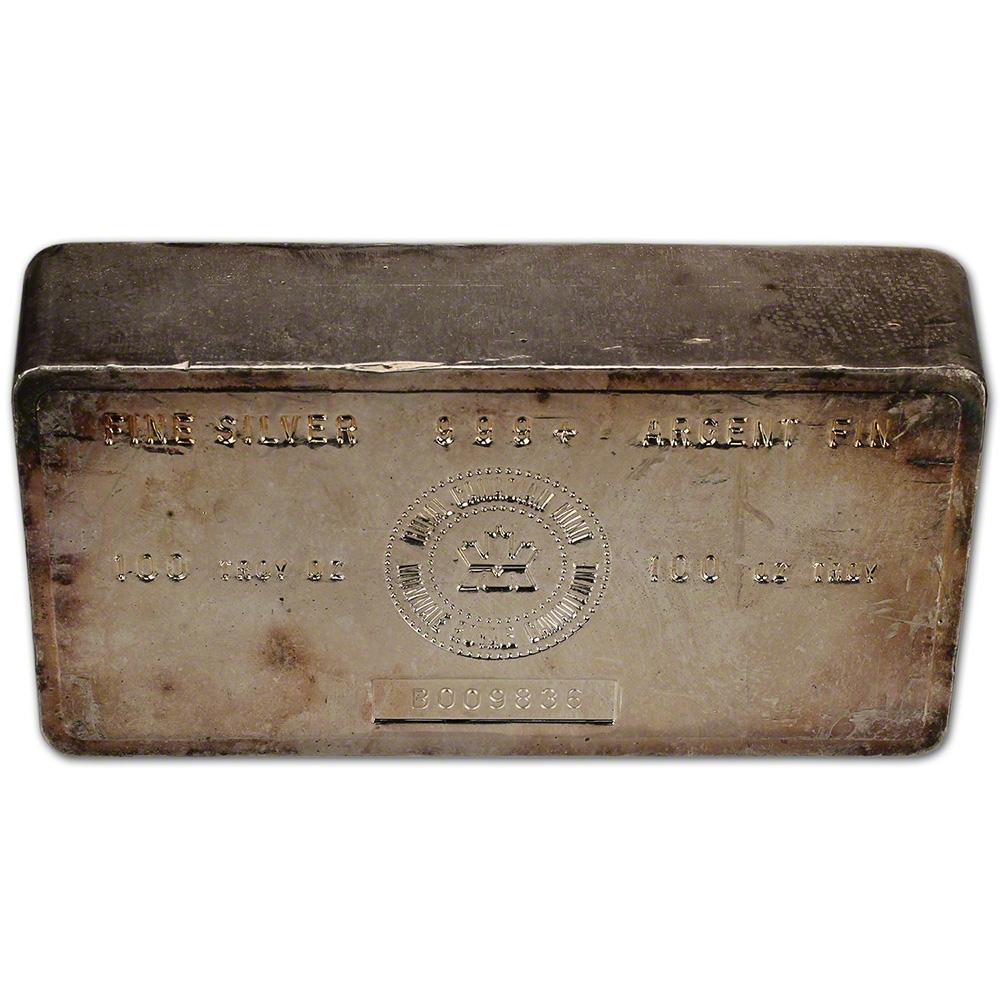 100 Oz Silver Bar Rcm Royal Canadian Mint Vintage