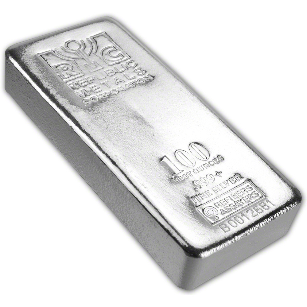 100 Oz Rmc Silver Bar Republic Metals Corp Pour 999