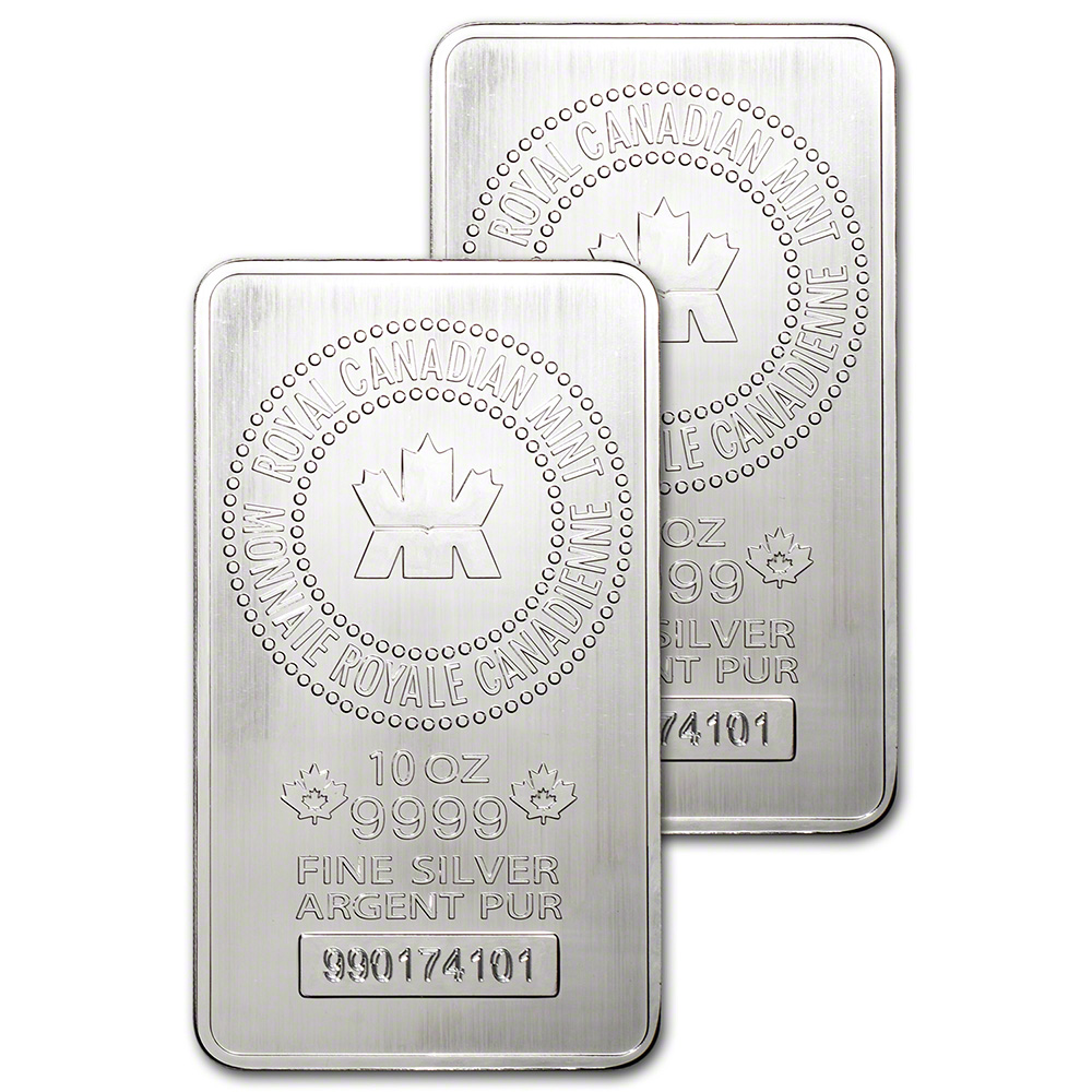 Two 2 10 Oz Rcm Silver Bar Royal Canadian Mint 9999
