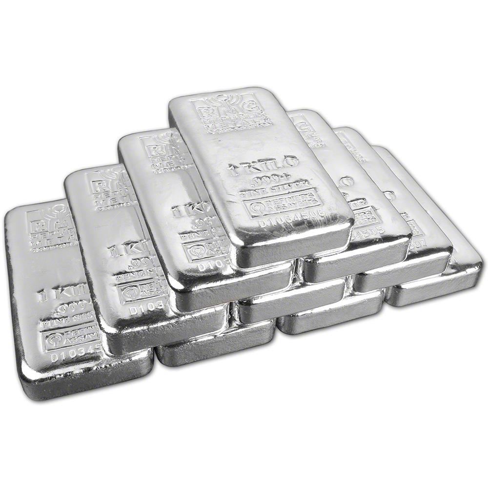 Kilo Silvers: TEN (10) Kilo (32.15 Oz.) RMC Silver Bar