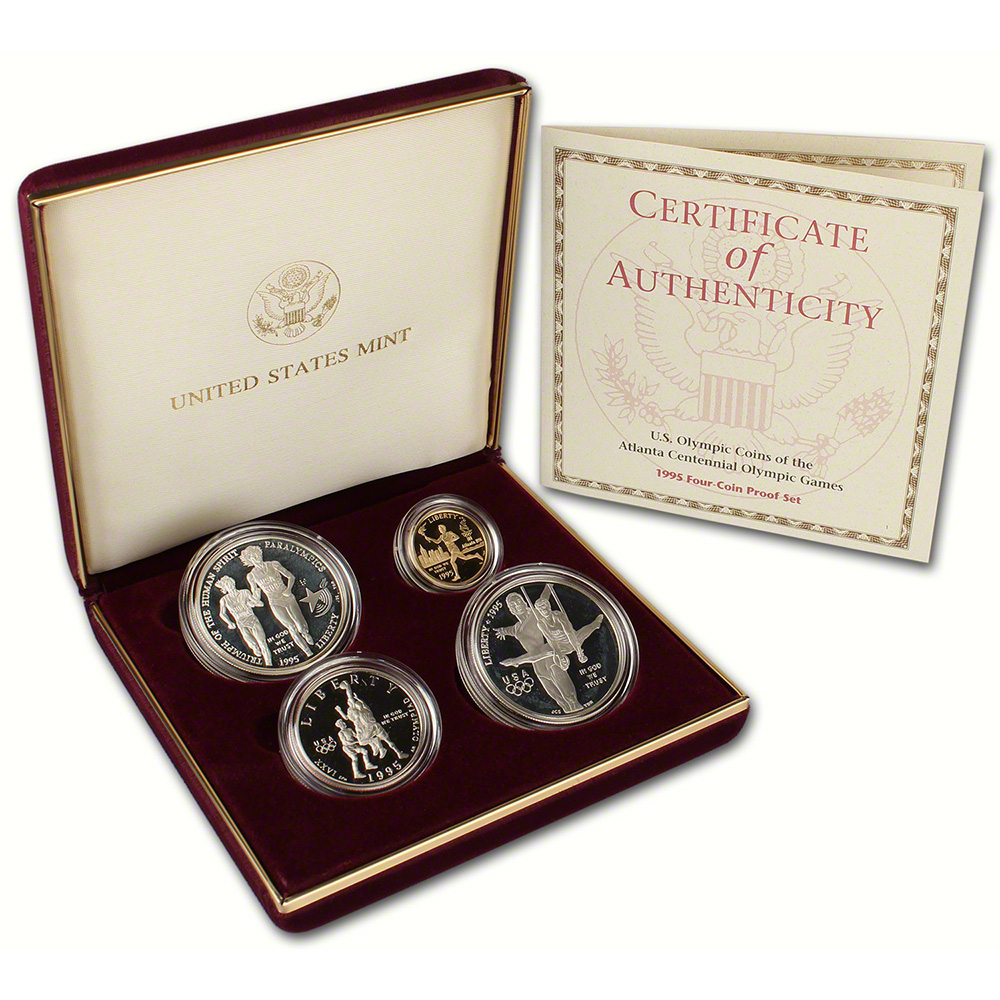 1995 US Olympic Games 4-Coin Commemorative Proof Set ...