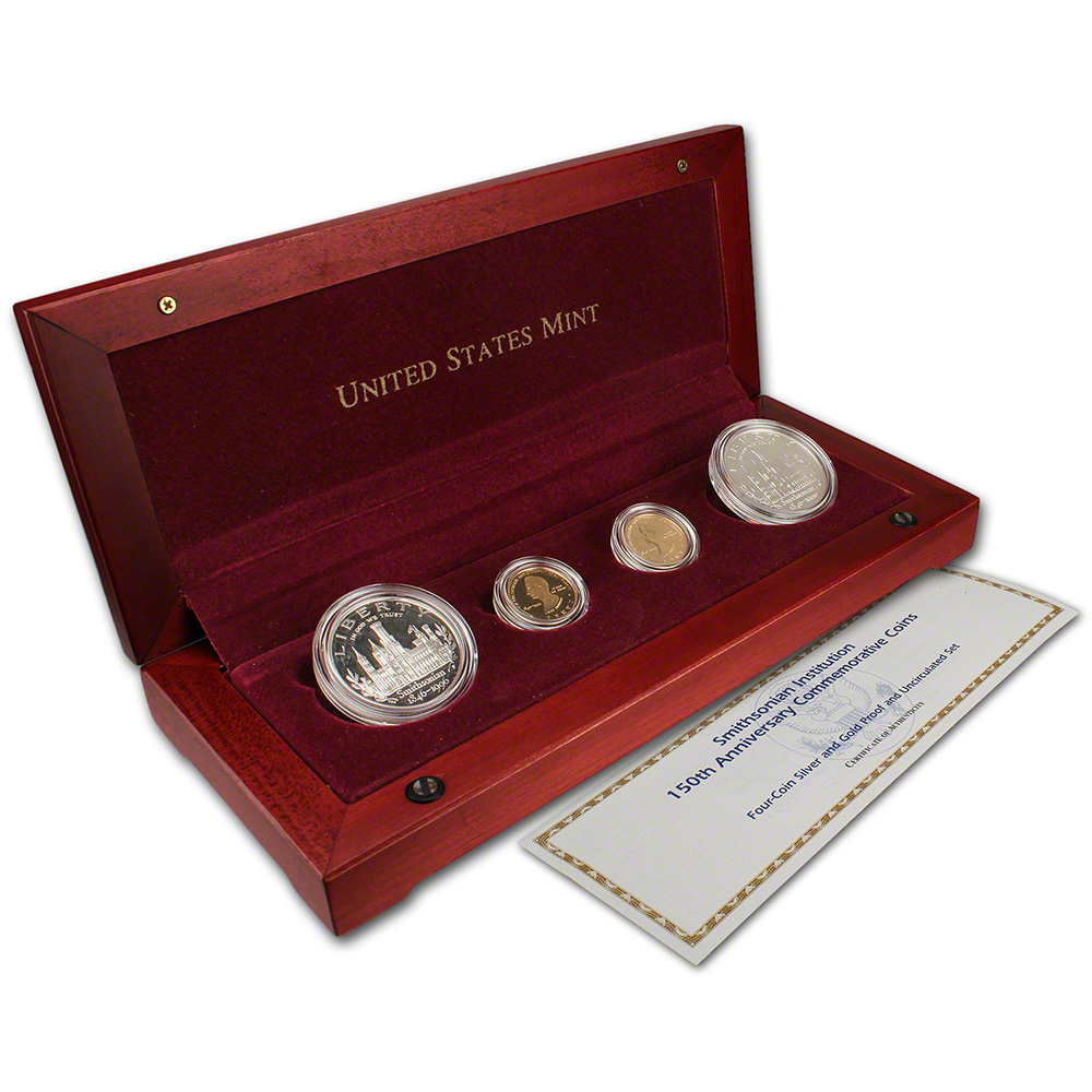 1996 Us Smithsonian Institution 4 Coin Commemorative Set
