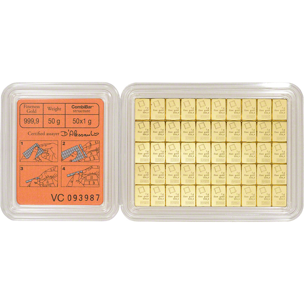 Valcambi 50x1 Gram Gold Combibar 1 6075 Oz With Assay