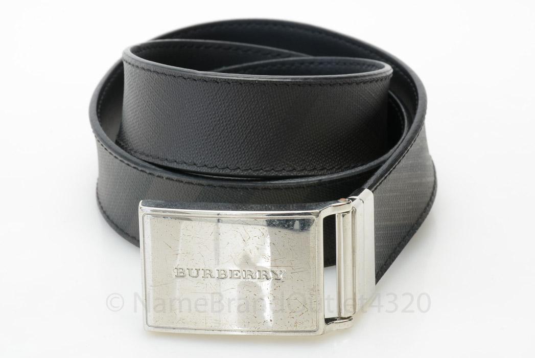 burberry check lucius reversible brown black 38 pvc plaque buckle belt 395 ebay. Black Bedroom Furniture Sets. Home Design Ideas