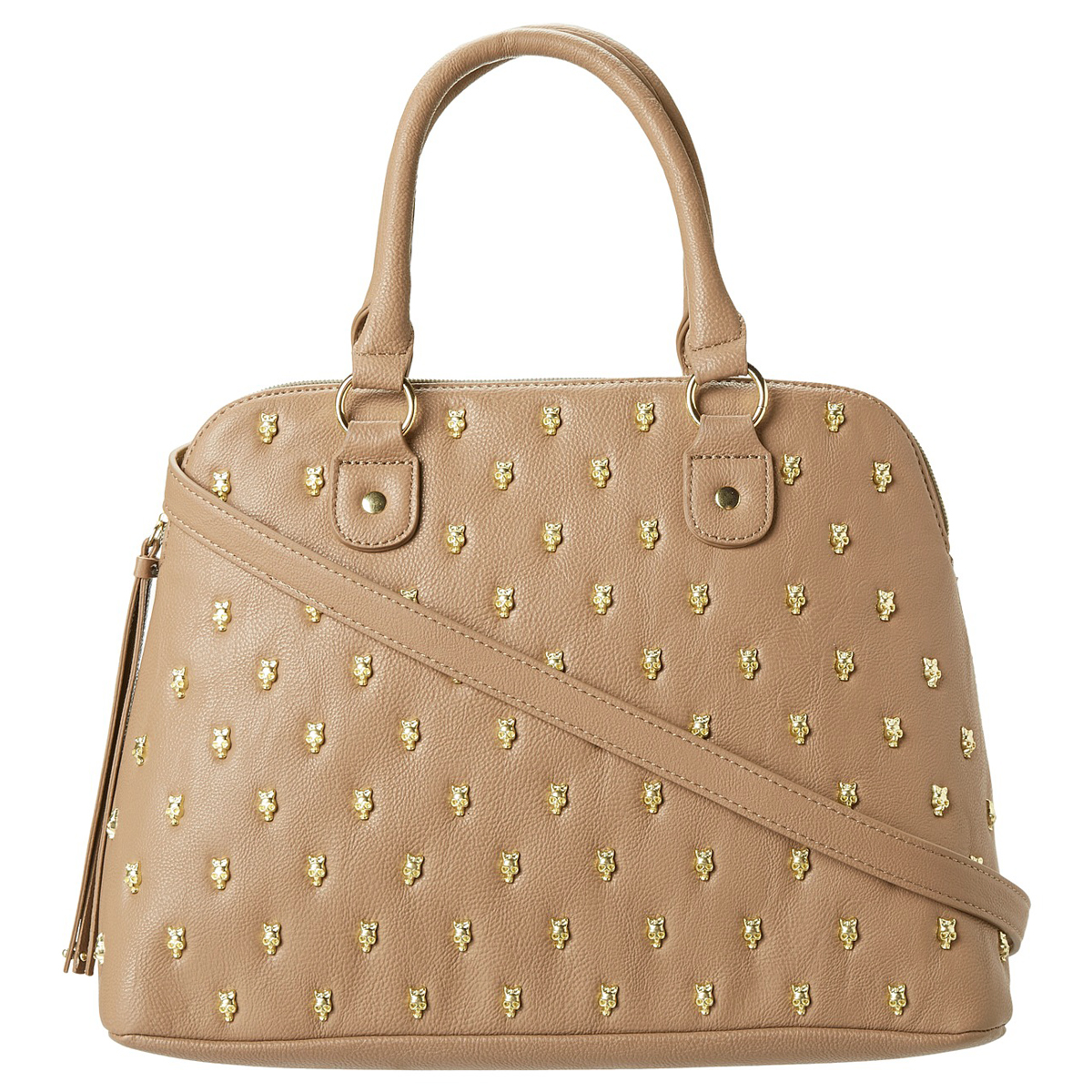 Betsey-Johnson-Taupe-Skull-Squad-Dome-Satchel