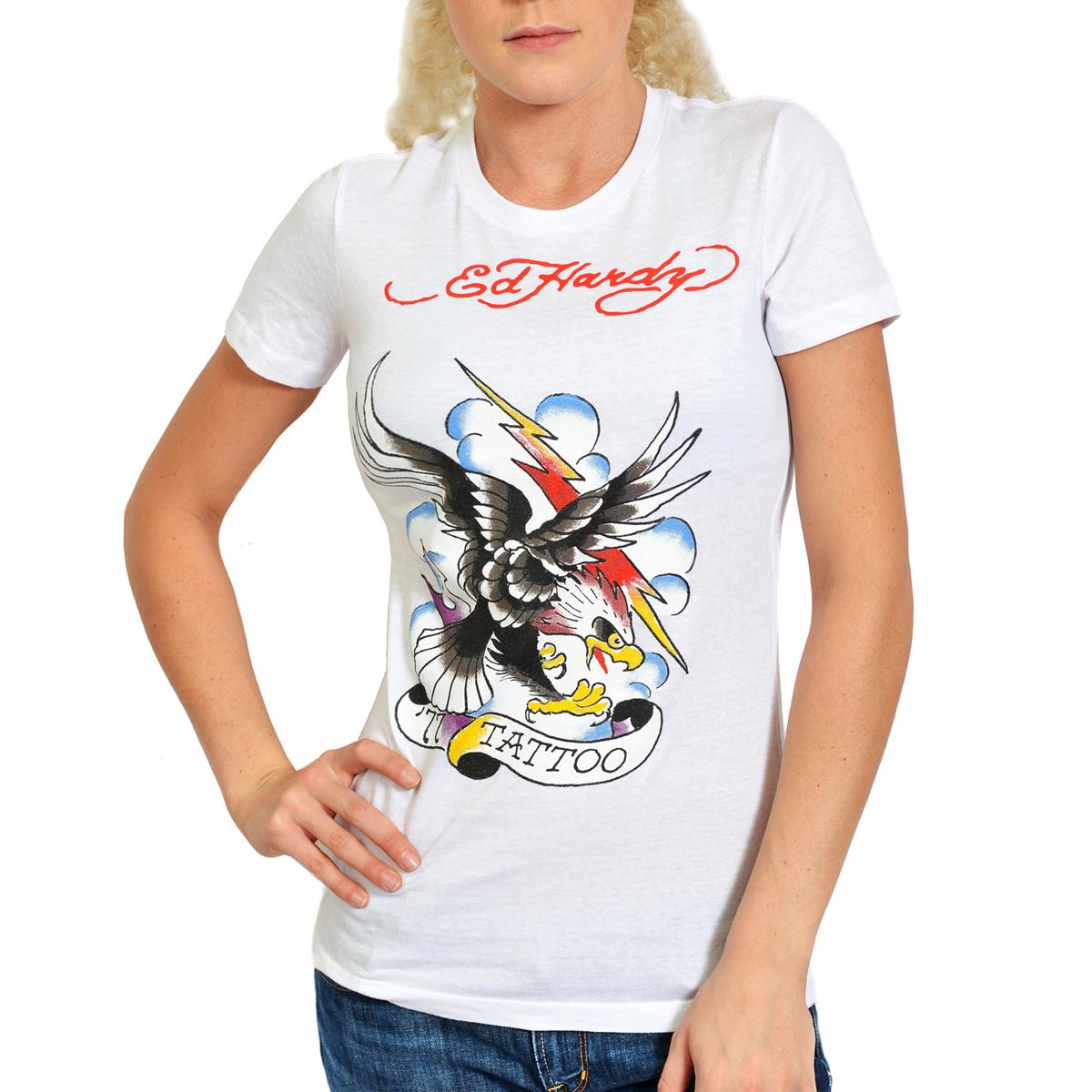 Ed hardy white womens tattoo eagle tee shirt ebay for Eagles t shirt womens
