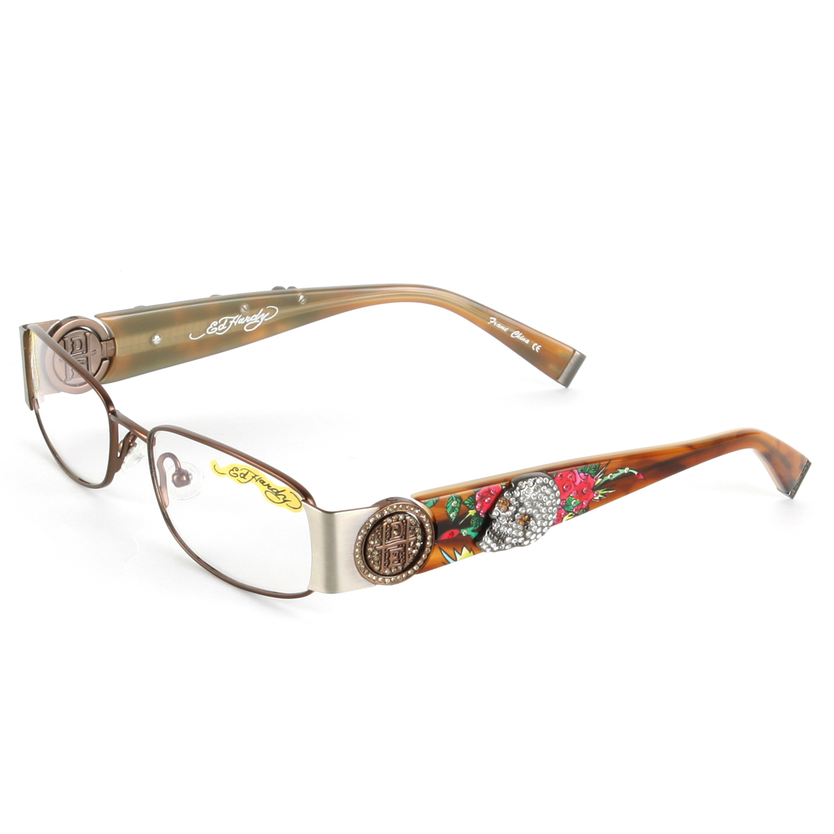 e088df20f9cd Ed Hardy Brown EHO 711 Womens Designer Eyeglasses