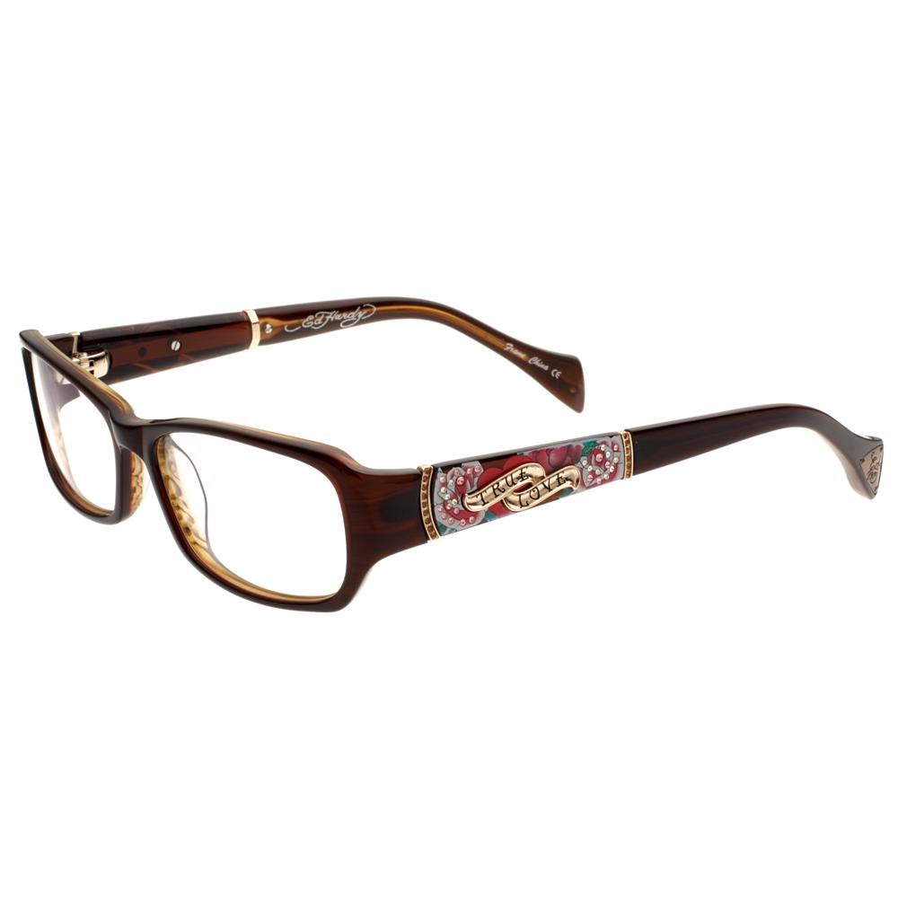 Eyeglass Frames Ed Hardy : ED Hardy Brown EHO 719 Womens Designer Eyeglasses eBay