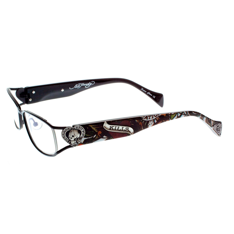 Black Designer Eyeglass Frames : Ed Hardy Black EHO-730 Women Designer Eyeglasses