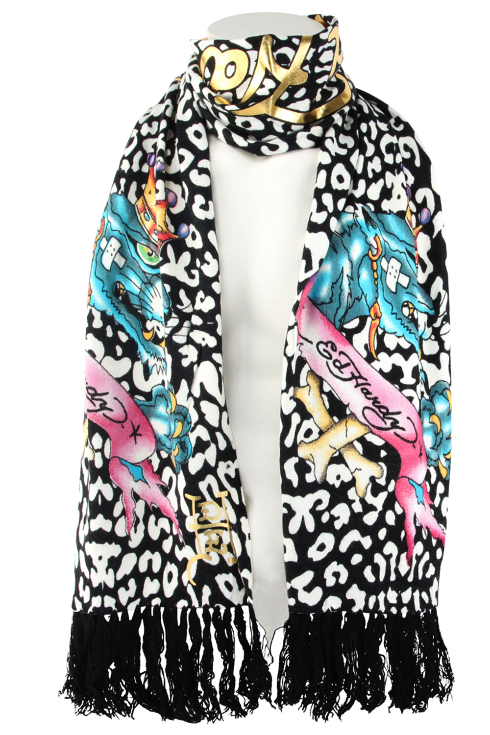 ed hardy white black womens panther knit scarf ebay